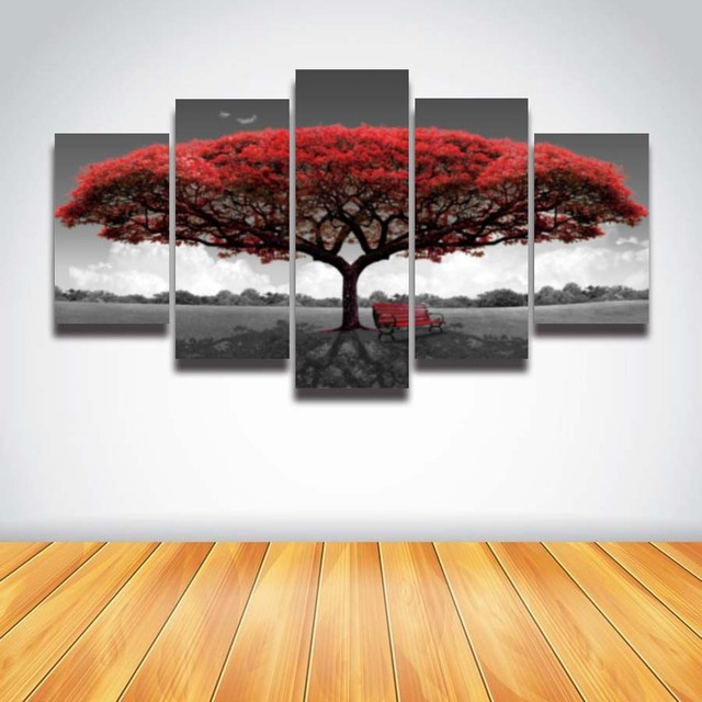 Painting For Bedroom aliexpress : buy 5 panel printed red tree art scenery