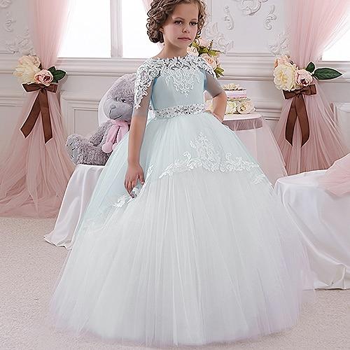 Champaña elegante vestido de la muchacha de la flor con la cinta Beige arco Crew Neck vestidos de la bola de malla niños vestidos de comunión para la Navidad 2 14 - 5