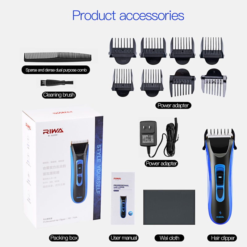 Riwa Rechargeable Men Haircut Machine Trimmer RE-750A Hair Clipper Blade Plated Titanium Ceramic Head Hair Styling Accessories rechargeable hair trimmer with accessories set silver 220v ac