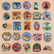 Stick On Cartoon Animal Badge Repair Patch Embroidered Iron Patches For Clothing Close Shoes Bags Badges Embroidery DIY