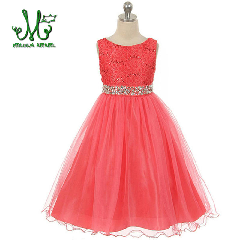 Girls Lace Dresses Summer 2016 High Quality Green Flower Girl Dresses For Party And Wedding Princess Dress Age 5 6 8 10 12Years summer kids girls lace princess dress toddler baby girl dresses for party and wedding flower children clothing age 10 formal