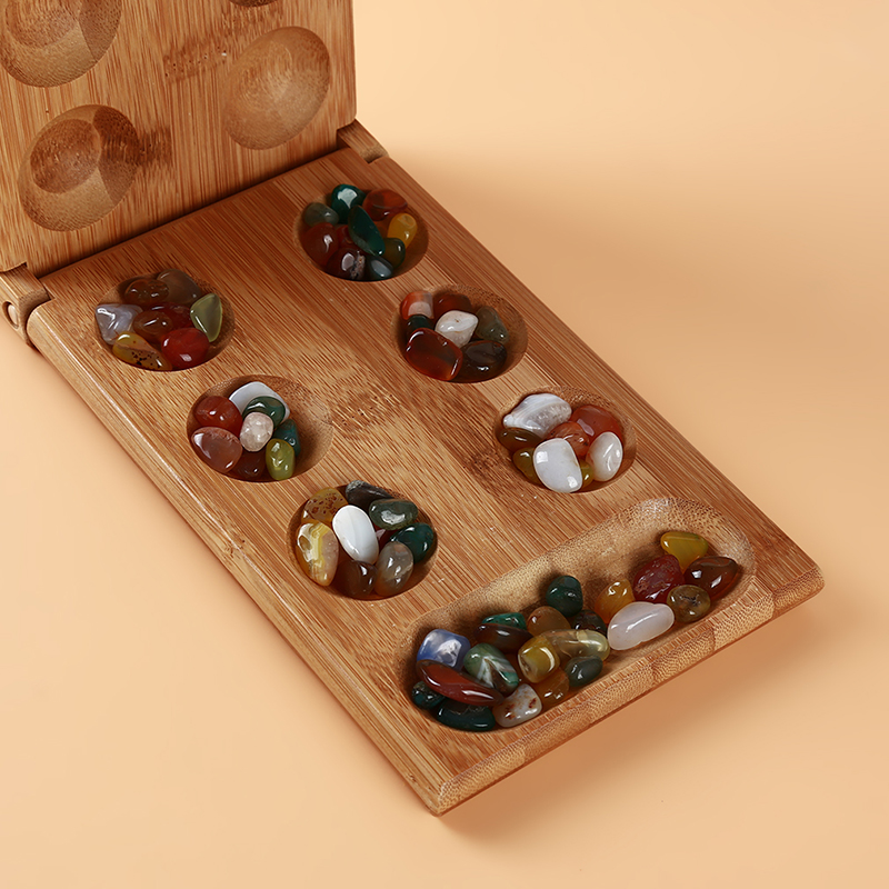 Children's Educational Toys Folding Bamboo Board Game Natural Agate Stone Toys Set Creative Travel Game Board Strategy Toys