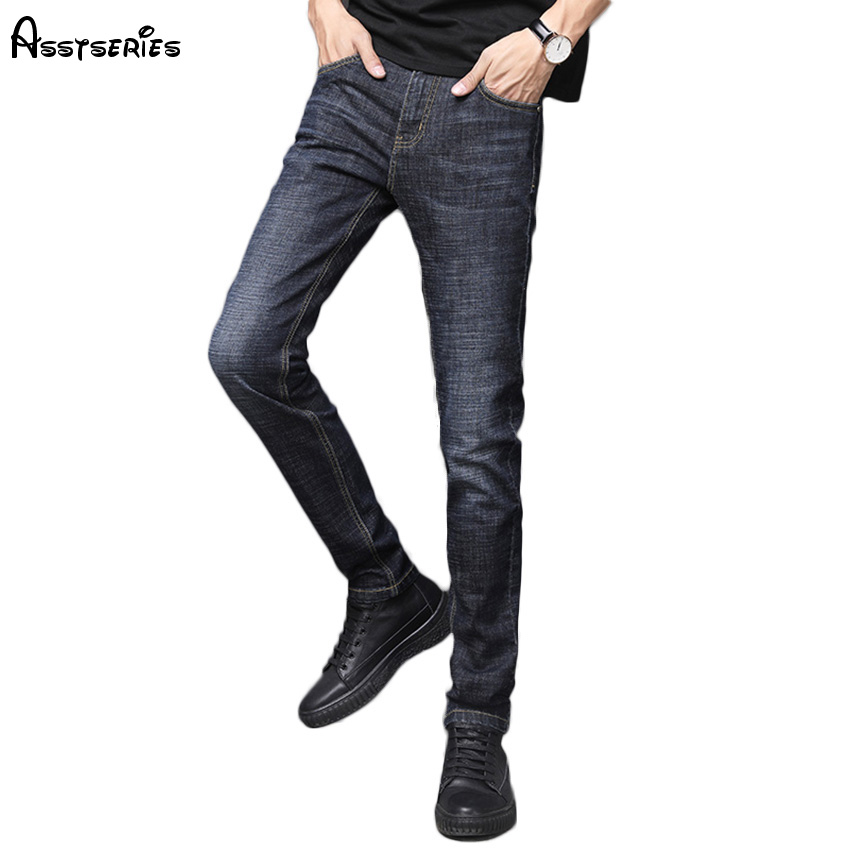 2018 New Arrived Mens Jeans Classic Stretch Blue Business Casual Denim Pants Slim Long Trousers Jeans Trousers D84