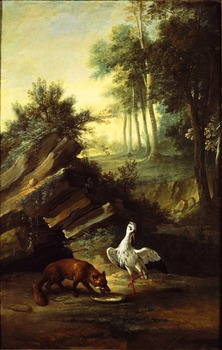 Oil Painting Reproduction,handmade oil painting,Fox and stork by Jean-Baptiste Oudry,Animal,Museum quaity