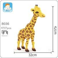 Xizai 8035 Cartoon Yellow Giraffe Stand Animal Pet 3D Model DIY Mini Micro Building Blocks Bricks Assembly Toy 42cm tall no Box