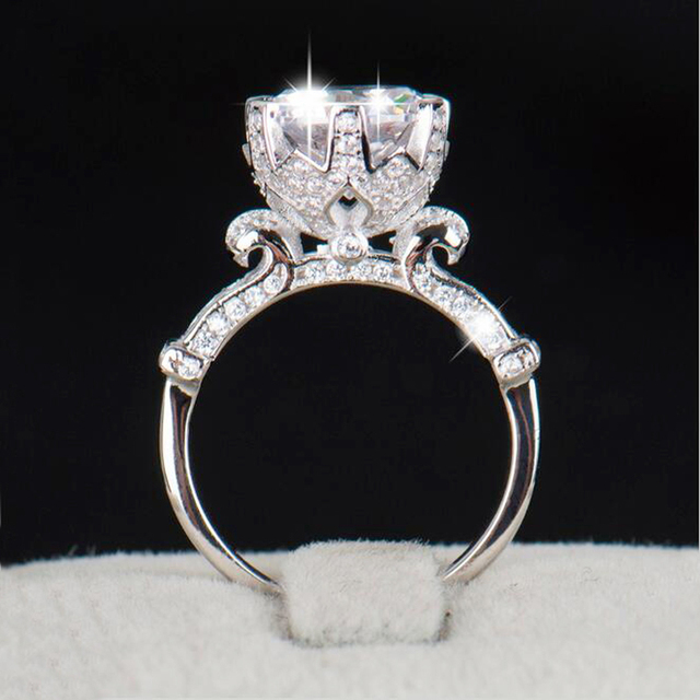 YANHUI Authentic 100% Pure 925 Sterling Silver Ring with 1 Carat SONA CZ Diamond Flower Ring Original Design Ring Jewelry XJ2902