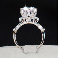 YANHUI Authentic 100 Pure 925 Sterling Silver Ring With 1 Carat SONA CZ Diamond Flower Ring