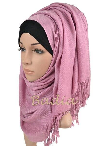 10 шт./партия мусульманское Макси хиджаб саржевый пашмины шарф простой свадебный пашмины шаль мода кисточкой голова шарф Обертывания мусульманские шарфы
