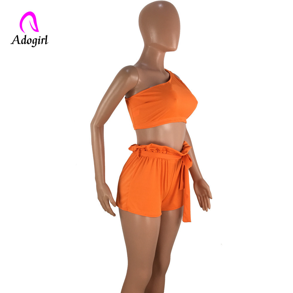 Yellow Orange Two Piece Set Crop Top Shorts Suit Sexy One Off Shoulder Sleeveless Bodycon Summer Suit Casual Femme Tracksuit in Women 39 s Sets from Women 39 s Clothing