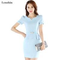 Lenshin Light Blue Dress Summer Style Wear Women's Elegant Short Sleeve V neck vestidos femininos Work Wear Without Belt
