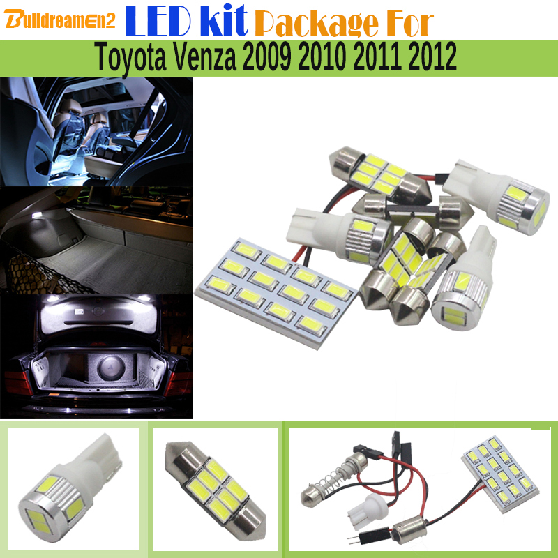 Buildreamen2 Car 5630 SMD LED Bulb Interior Map Dome Courtesy Trunk Light Auto LED Kit Package White For Toyota Venza 2009-2012