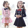 Roupa Dos Miúdos do bebê Meninas Vestido 2016 Novo Estilo coreano da longo-luva bow criança crianças bebê doce menina Pricess Vestido