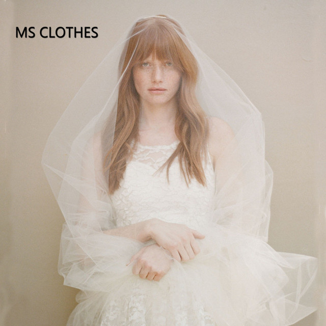 """Single Layer Cathedral Length Veil With Metal Comb 108"""" Long Train Soft Tulle Wedding Veil Raw Edge Customized"""