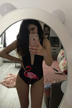 2019 Sexy  Women One Piece Swimsuit birds Printed Solid High Waist Summer Beach Bathing Suit Swimwear Monokini Beach Wear