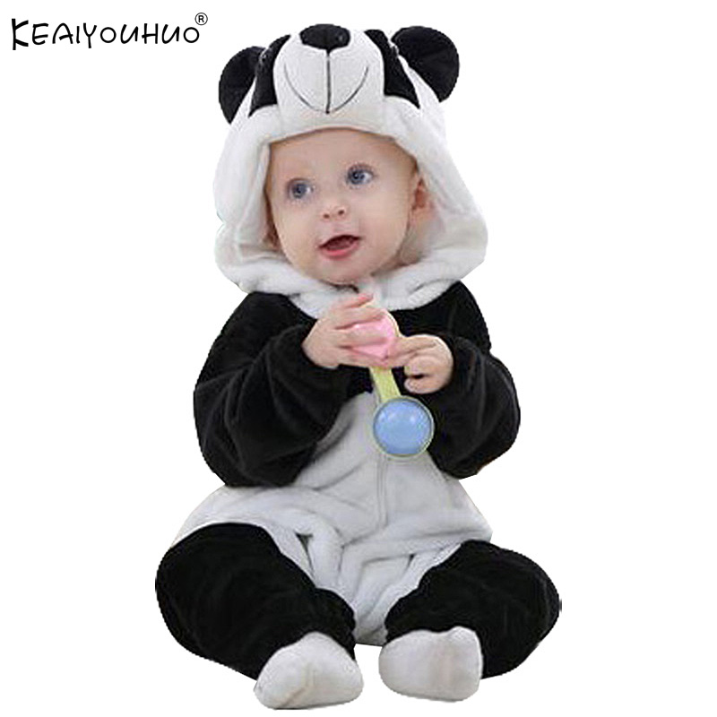 Newborn Baby Rompers Winter Flannel Stitch Panda Baby Boy Clothes Jumpsuit Costume Baby Girl Costume Animal Rompers baby clothes winter keep warm flannel baby rompers baby boy girl coat next romper newborn kids clothes jumpsuit set