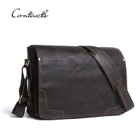 CONTACT S Casual Shoulder Crossbody Bag Genuine Leather Men S Briefcase Leather Laptop Bag Male Messenger