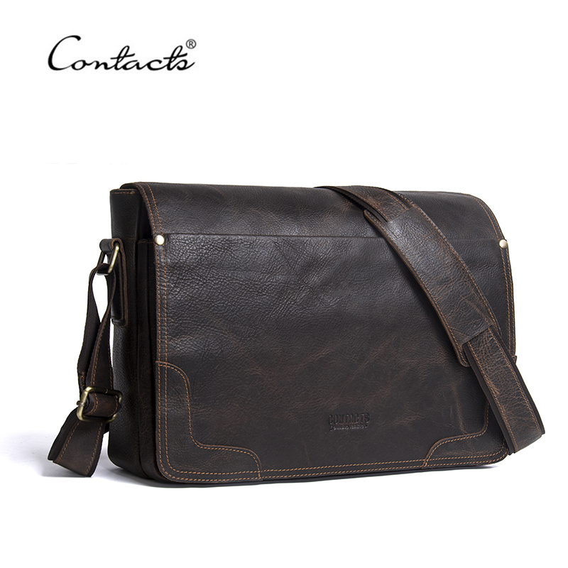 CONTACTS Casual Shoulder Crossbody bag Genuine Leather Mens Briefcase Leather Laptop Bag Male Messenger Bags Designer Bag 2018