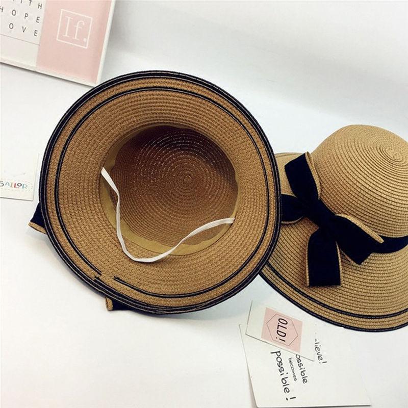 New Women Summer Parent-child Women Casual Daily Baby Kids Girl Beach Bow Straw Flat Brim Sun Hat Cap #4F09 (27)