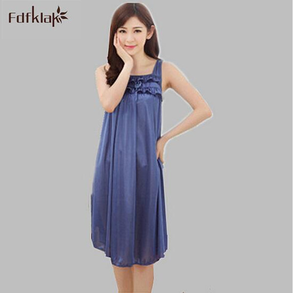Ladies Silk Sleepwear Sexy Nightshirts Long Summer Dresses Women Home Clothes Nightdress Female Nightgown Oversize Sleepshirt