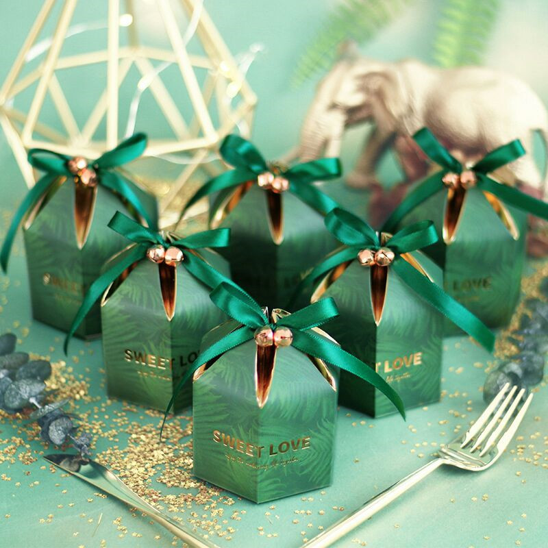 Green Candy Box With Ribbon Chocolate Gift Boxes Souvenirs For Guests Wedding Favors And Gifts Birthday Baby Shower Favors Boxes