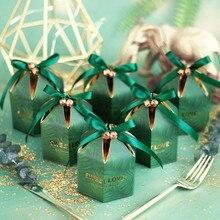 Groene Snoep Doos Met Lint Chocolade Geschenkdozen Souvenirs Voor Gasten Bruiloft Gunsten En Geschenken Verjaardag Baby Shower Gunsten Dozen