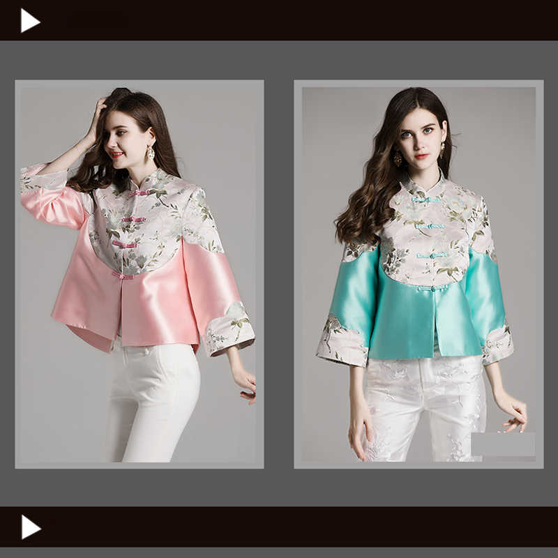 286f44568f ... Chinese Style Tang Costume Women Retro Button Wind Tea Short Chinese  Tunic Top Traditional Chinese Clothing ...