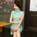 2016 Fashion Chinese Style Dress Chinese Traditional Dress Cheongsams Short Sleeve Breathable Lace Qipao Dresses M L XL XXL