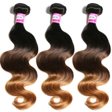 SAY ME Malaysian Body Wave 1b/4/30 Non Remy Ombre Human Hair Weave Bundles Auburn 1 Piece Light Brown Hair Weft 3 Three Tone