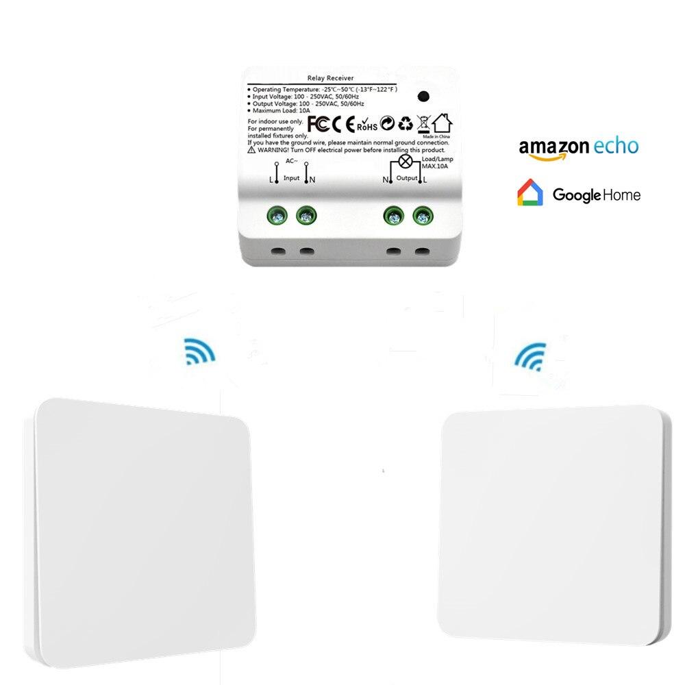 QCSMART беспроводной переключатель Без аккумулятора для дистанционного управления 10A реле приложение таймер Голосовое управление с Amazon Alexa ...