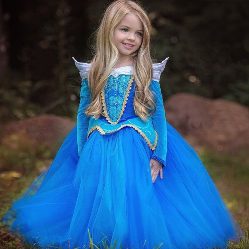 цена на 2018 Girls Sleeping Beauty Princess Costume Spring Autumn Girl Dress Pink Blue Princess Aurora Dresses for Girls Party Costume
