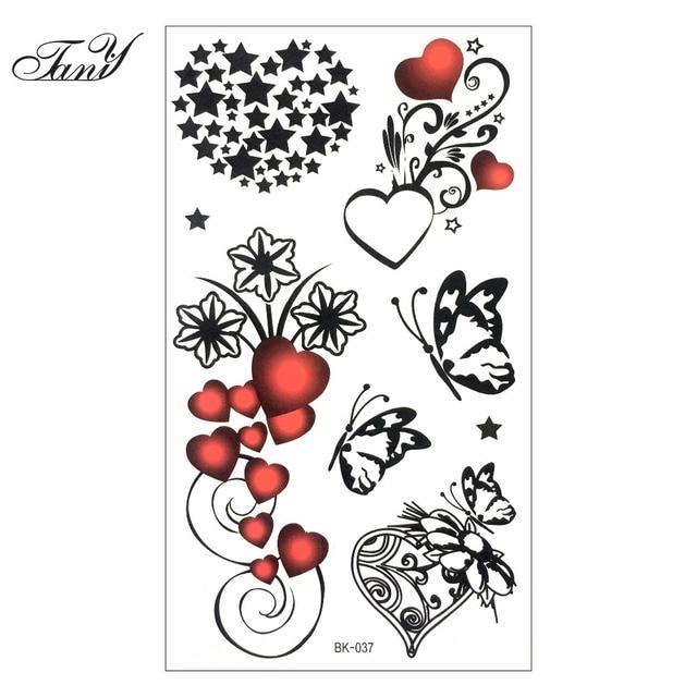 Sexy Corazones Estrellas Tatuaje Temporal Cuerpo Tatuaje Adhesivos