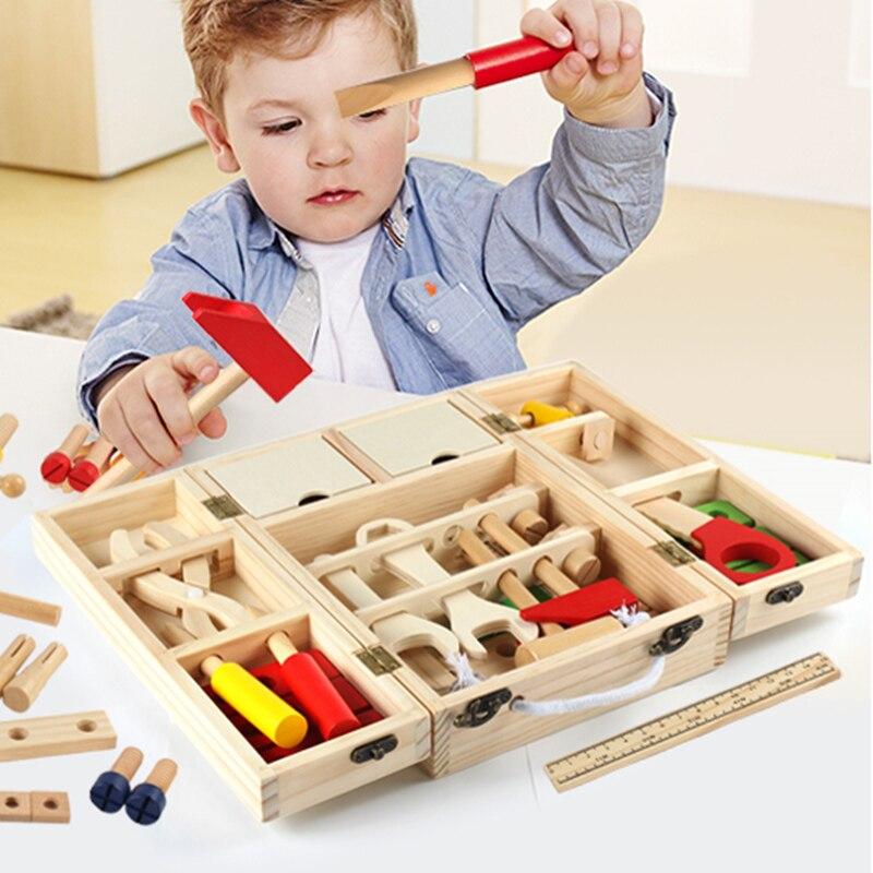 1 Satz Kinder Holzspielzeug Buchenholz Repair Tool Set Für Jungen Kids Pretend Spielen Früherziehung Simulation Spielzeug Werkzeugkasten 1,5 Kg Angenehme SüßE