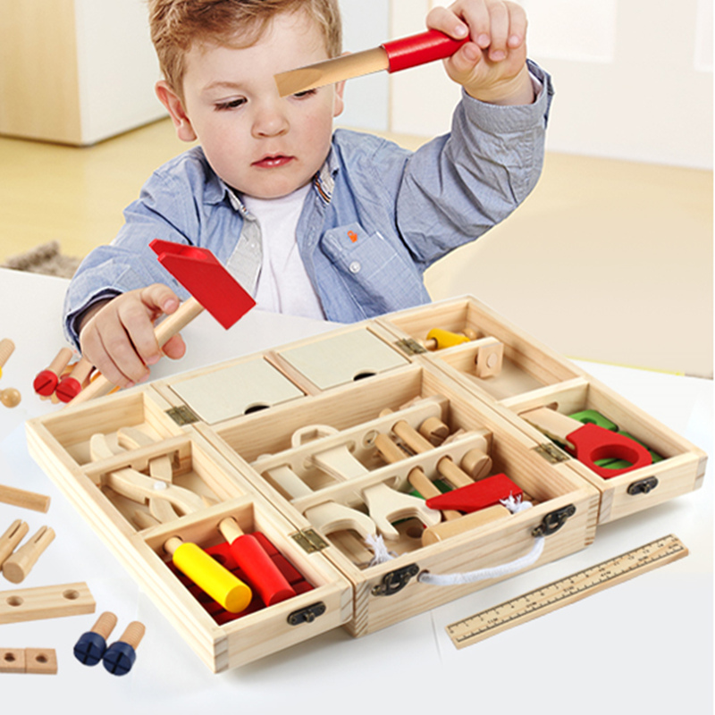 1 Set Children Wooden Toys Beech Wood Repair Tool Set For Boys Kids Pretend Play Early Education Simulation Toy Tool Box 1.5KG ...