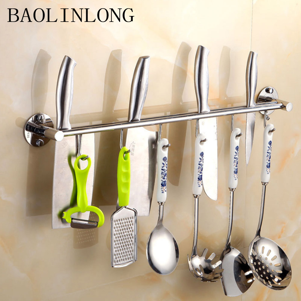 304 Stainless Steel kitchen rack Kitchen Shelf Cooking Utensil Tools Hook Rack kitchen Holder in Wall Mounted Kitchen Racks from Home Improvement