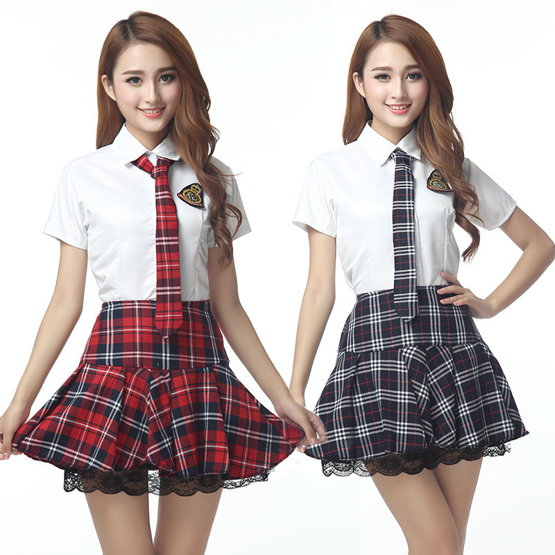 Girls Japanese School Uniform Classic British Style Short Sleeves High School Outfit Shirt Skirt With Tie Badge Suit U005