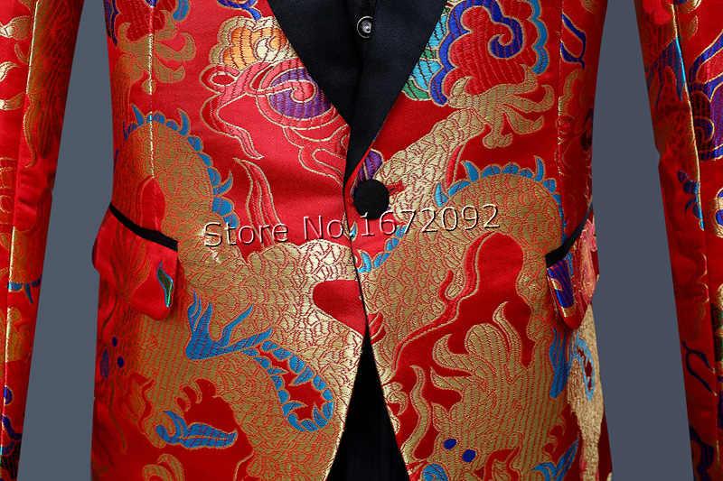 Klassische Chinesische Kragen Männer Drache Blazer Jacke Rot Mens Blumen Blazer Atemberaubende Blazer Für Männer Kostüm Homme Terno Masculino