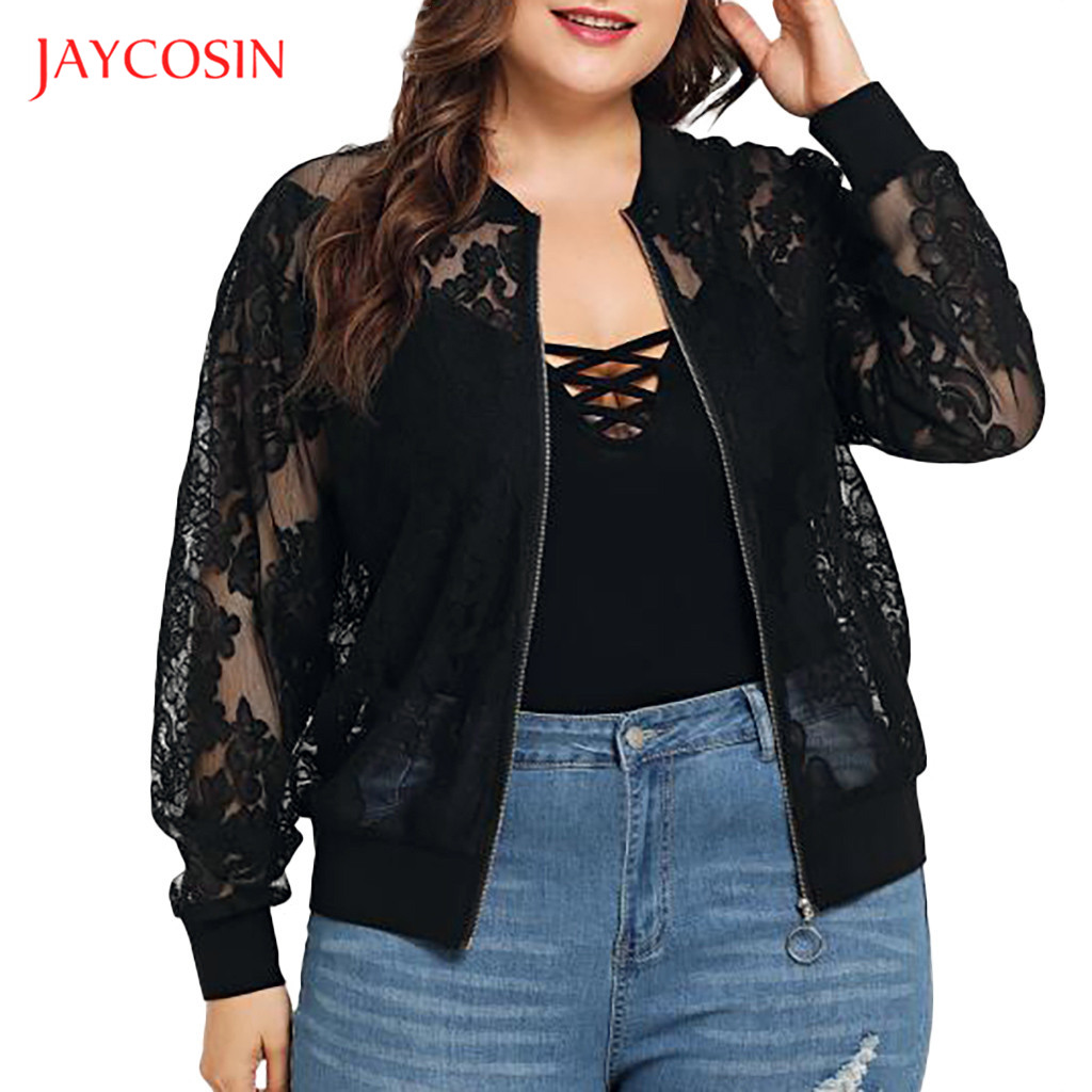 Jaycosin Clothes Plus Size Lace Women Top Coats Lady Girls Polyester Loose Casual O-Neck Long Sleeve summer Shawl Cardigan Top cardigan