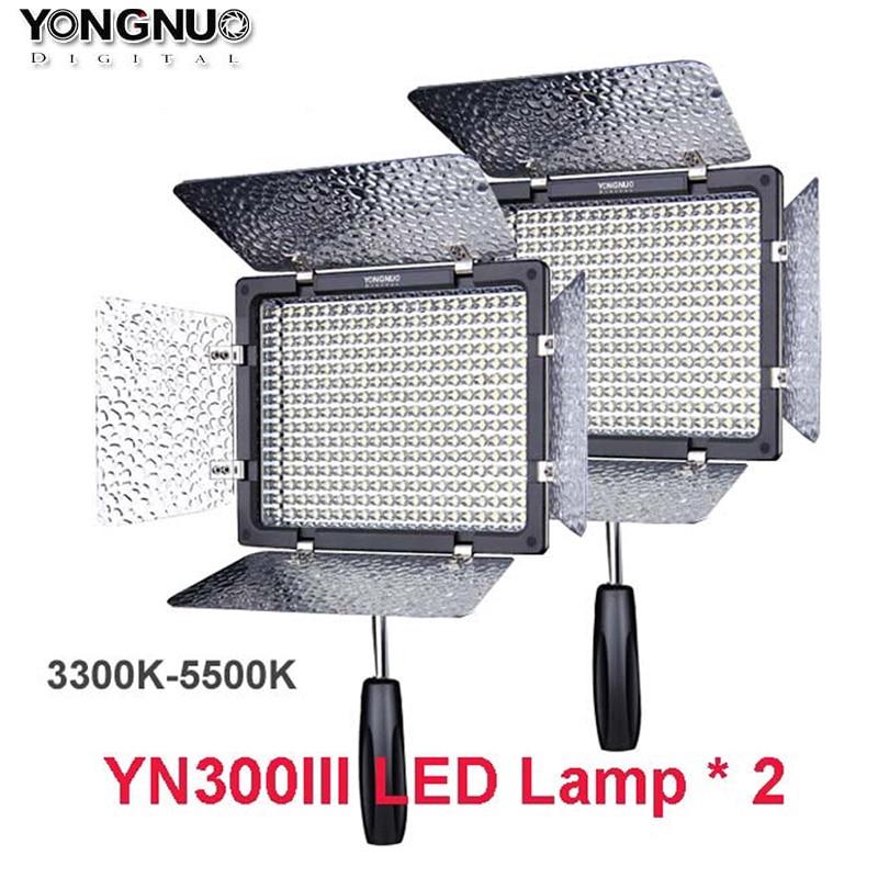 2pcs Yongnuo YN300 III YN 300 lIl 3200k 5500K CRI95 Pro LED Video Light w Remote