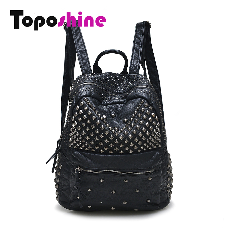 Toposhine Women Backpacks Washed Leather Backpacks Lady Girls Travel Women Bags Rivet Backpacks Student School Bag Hot 15-107 toposhine small rivet women backpacks fashion pu leather women shoulder bag rivet small ladies backpack girls school bags 1751