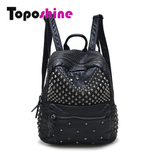 Toposhine Women Backpacks Washed Leather Backpacks Lady Girls Travel Women Bags Rivet Backpacks Student School Bag
