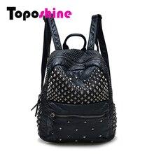 Toposhine mujeres mochilas mochilas de cuero lavado de señora girls mujeres bolsas rivet mochilas bolso de escuela del estudiante de viaje caliente 15-107