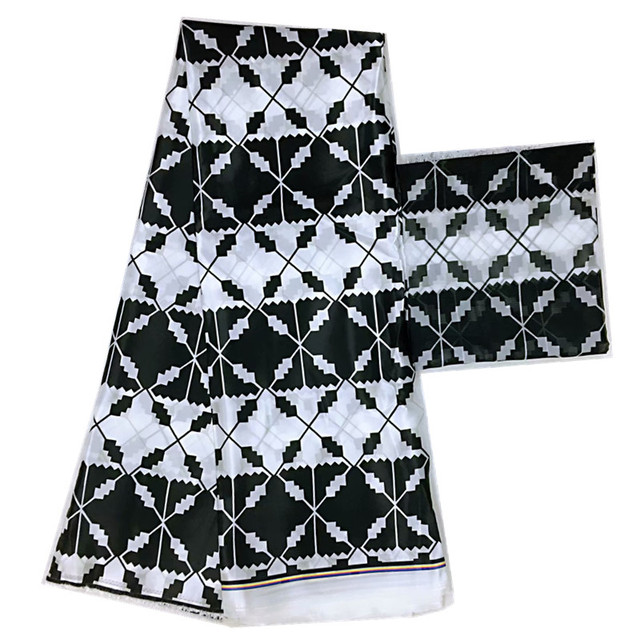 African Ankara Silk wax Black And White Chiffon Fabric 4+2Yards