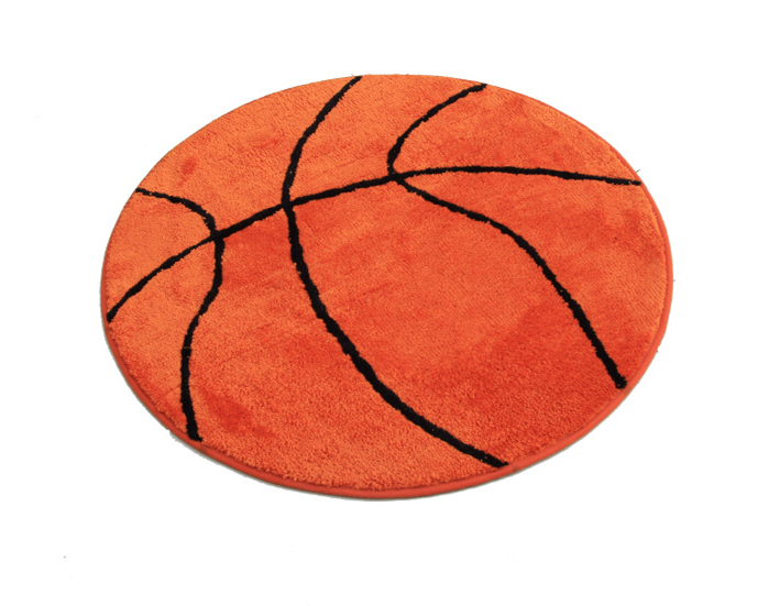 Basketball Printed Living Room Doormat Cartoon Anti-Slip Round Carpets Door Floor Mat For Bathroom Kids Room