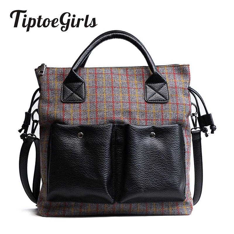 Large Bag Female New Design Fashion Girls Handbag Woolen Panelled Color Double Pocket Hand Bag Women Shoulder Messenger Bag