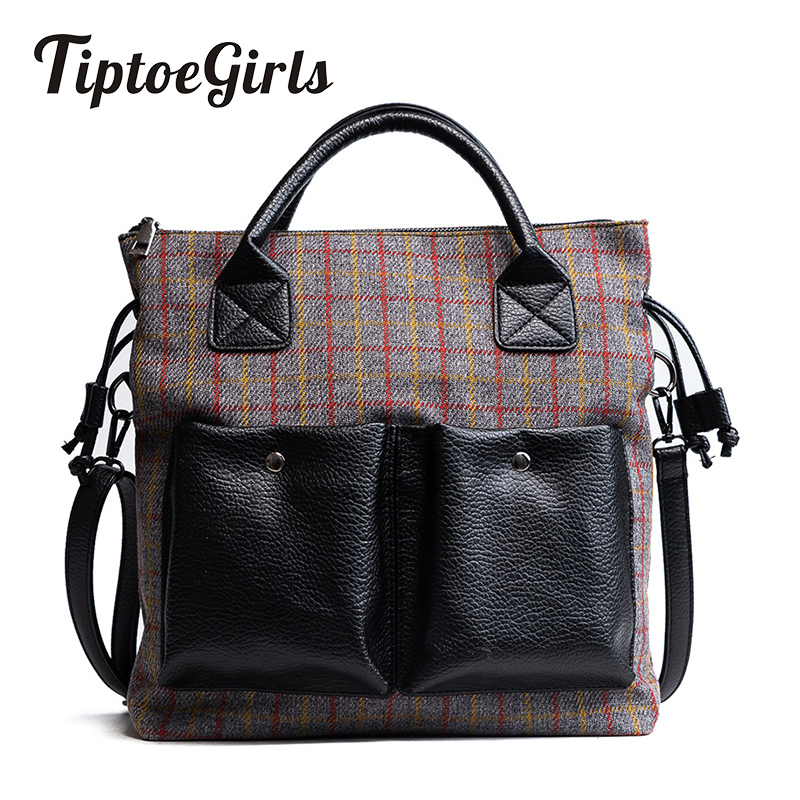 Large Bag Female New Design Fashion Girls Handbag Woolen Panelled Color Double Pocket Hand Bag Women Shoulder Messenger Bag