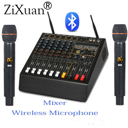 Professional 6 Channel Digital Effect Power Amplifier Studio Audio Mixer With Bluetooth USB Mixing Console + 2 Wireless Mic