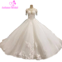 Gorgeous Ivory Bridal Gown 3d Flowers Custom Made Sleeves Ball Gown Lace Wedding Dress Real Photos