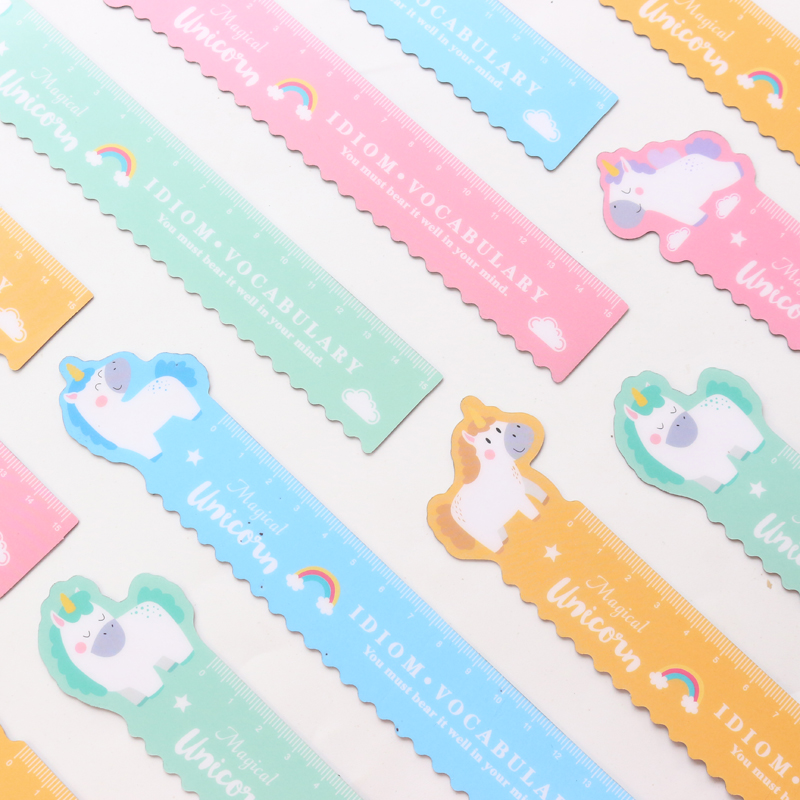 Domikee Cute Kawaii Korean Unicorn Shape School Student Magnetic Plastic Sift Straight Ruler Bookmark Stationery Item Supplies