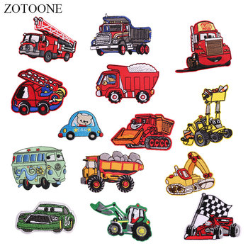 ZOTOONE Cartoon Car Patches for Kids Diy Stickers Iron on Clothes Heat Transfer Applique Embroidered Applications Cloth Fabric G image