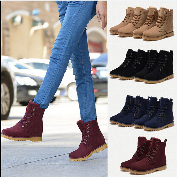 806931e80 Womens Mens Genuine Leather Mid Calf Boots Snow Boots Warm Winter Lace Up  Shoes SIZE 35-44